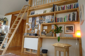 Bookcase and ladder up to sleeping platform